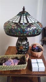 Beautiful stained glass lamp.  Longaberger baskets.