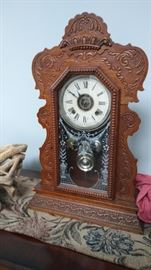 one of two antiques kitchen clocks - has key