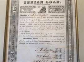 Texian loan signed by Stephen F. Austin before Texas became a Republic