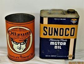 5 quart oilzum Oil Can & SUNOCO Motor Oil Can