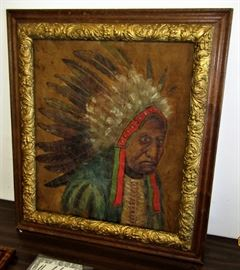 Early Indian chief painting on Buckskin