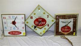 3 different all original dr. pepper lighted Pam clocks
