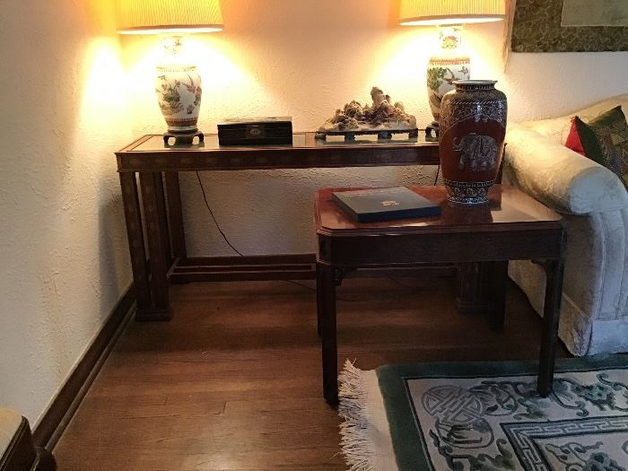 Sofa table & side table - both with classic Asian details
