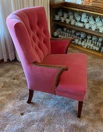 Antique Wood Frame Mauve Arm Chair #134x26x28inHxWxD