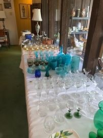 Crystal and mid century modern glassware