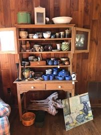 primitive cupboard, Bybee pottery, ironstone...