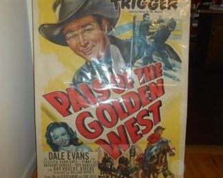 """Roy Rogers & Trigger with Dale Evans 4' X 2.5"""" poster in a sleeve.  A Republic Picture #51"""