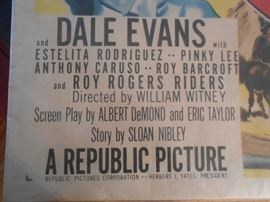 """Bottom left portion of Roy Rogers and Dale Evans 4' X 2.5"""" poster"""