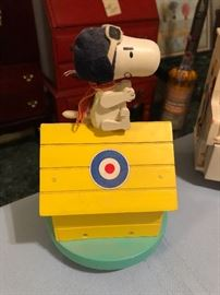 1968 Snoopy the Red Baron Music Box, United Feature Syndicate, Excellent, Original Tag, Made in Japan, Wood