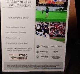 TRIP GO TO ANY REGULAR SEASON GAME OR PGA TOURNA ...