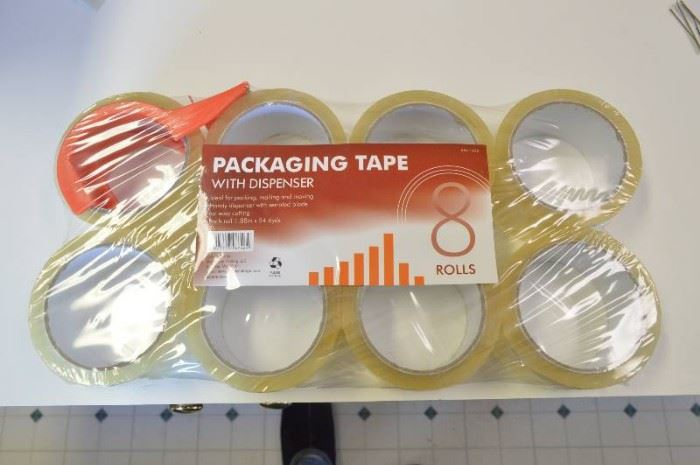 8 Rolls Packaging Tape with Dispenser