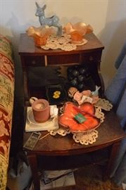 Contents on 2 stands Knick knacks  trinkets