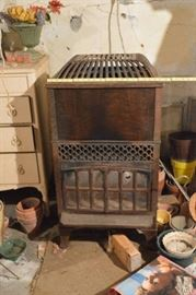 Gas heating stove in basement