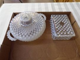 2 HOB NAIL MOONSTONE COVERED DISHES