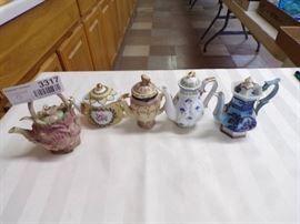 3 MINIATURE TEA POTS LOT