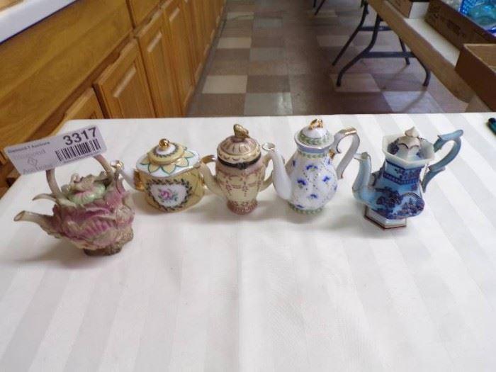 3 MINIATURE TEA POTS LOT