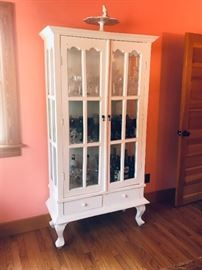 Vintage China cabinet with glass doors and 2 storage drawers