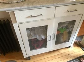 Kitchen Cart on Casters with marble top and storage