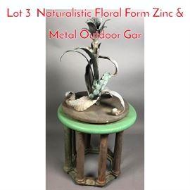 Lot 3 Naturalistic Floral Form Zinc  Metal Outdoor Gar