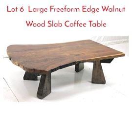 Lot 6 Large Freeform Edge Walnut Wood Slab Coffee Table