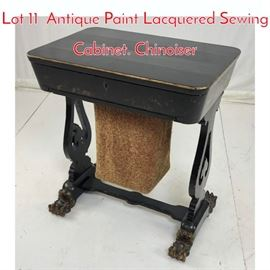 Lot 11 Antique Paint Lacquered Sewing Cabinet. Chinoiser