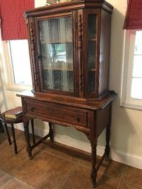 Antique English Oak China Cabinet  36w x 60 t x18 d