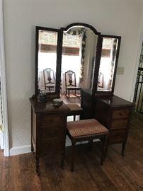 Antique tripple mirror vanity  51 w x 68 t x 18 d