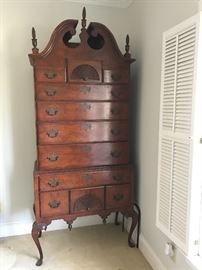 Antique highboy (chest on chest, 11 drawers)