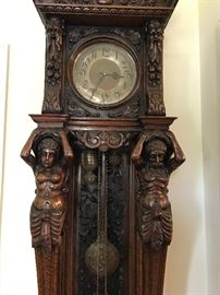 """8'6"""" tall  ornately carved antique clock, English approx. 1850's"""