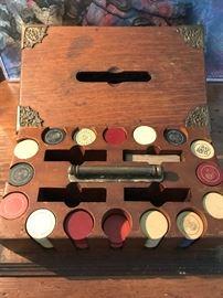 Antique poker set (lid off)
