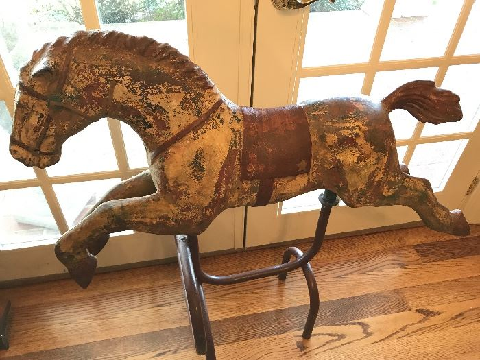 Antique iron/metal carousel horse