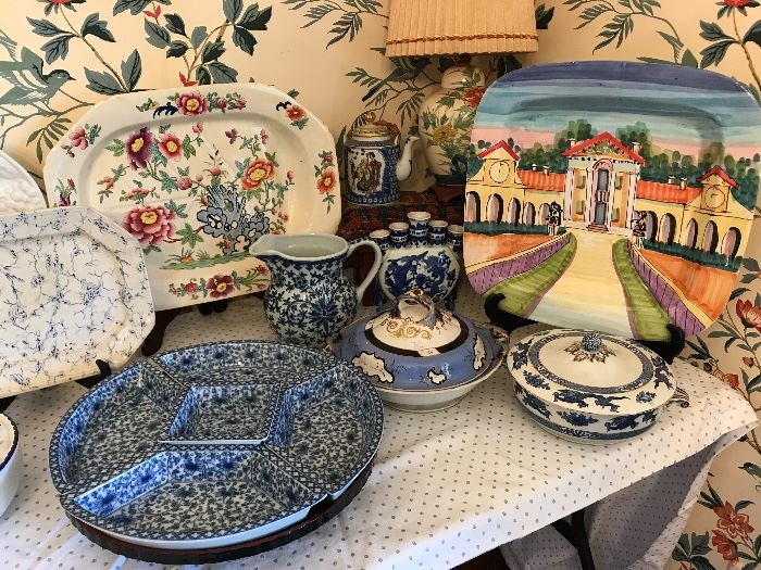 Large selection of blue and white ceramic &  porcelains