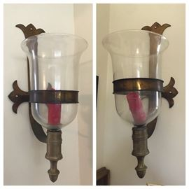 Pair of oversized brass/glass wall sconces