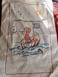 Handmade needlework child's blanket