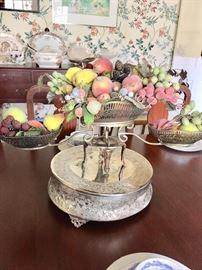Cake pedestal and silverplate centerpiece