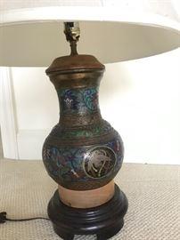 Antique cloisonné lamp