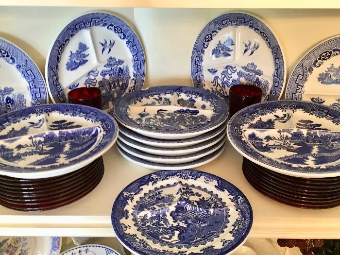 Large variety a blue and white porcelains including these Blue Willow plates