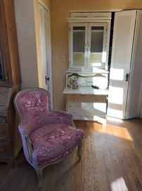 French Bergere style chair and drop leaf desk