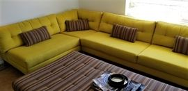 Custom Made Media Room Sofa with Ottoman -  Converts Into King Size Bed
