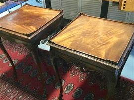 Mahogany set of 2 antique side tables with detailed carving and lip. $65 each or $100 for both