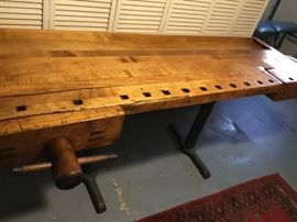 Cool antique carpenters workbench with 2 wooden vices perfect for unique bar or kitchen table. Great conversation piece $940. 7 ft x 2.9