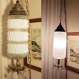 mid century milk glass hanging light