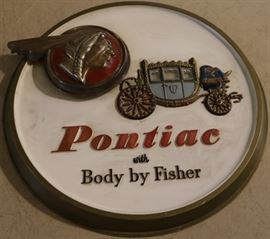 Vintage Pontiac Body by Fisher advertising sign from local dealership