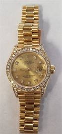 Ladies Rolex Presidential gold watch w/ diamonds