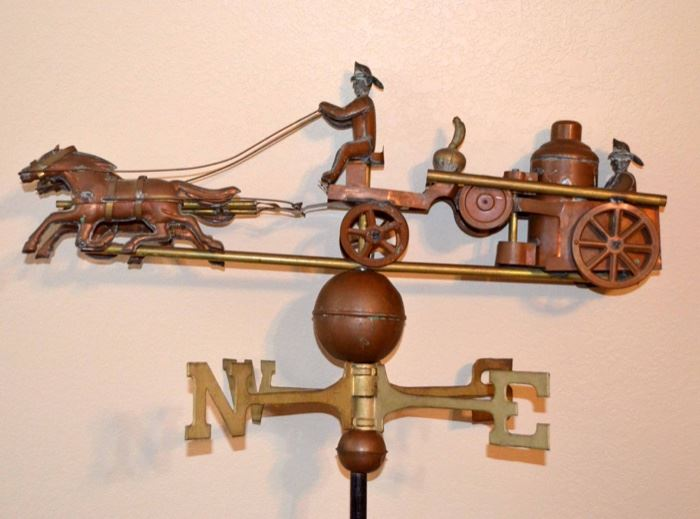 copper & brass horse & fireman weather vane