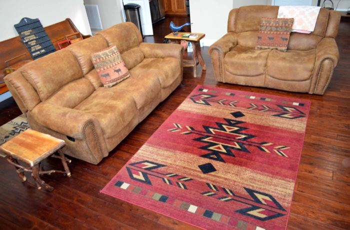 recliner sofa & loveseat, area rugs