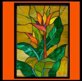 Very Pretty Stained Glass with Bird of Paradise