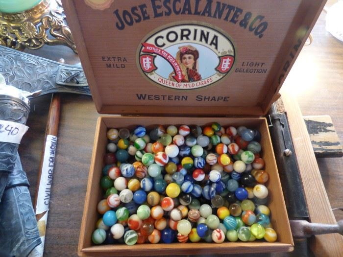Vintage marbles. Two boxes and a bag.