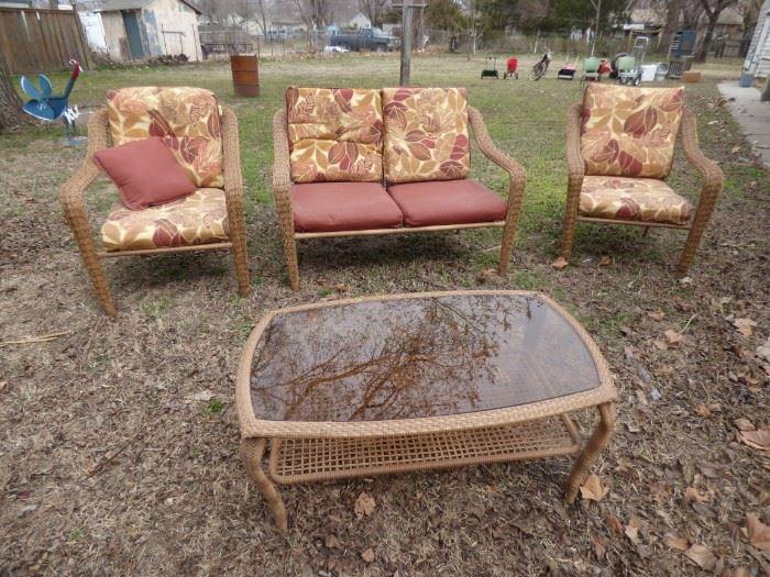 Rattan lawn furniture.