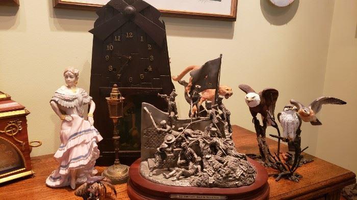 Gilbert Mission Oak Clock/early 1900's..porcelain birds...antiq cigarette lighter...more